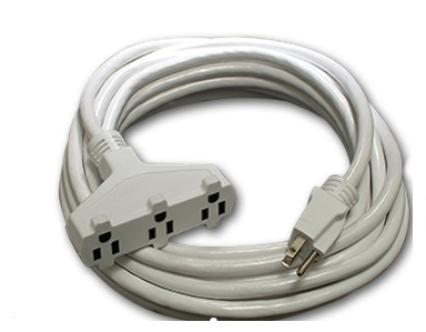 Multi Outlet White Extension Cord